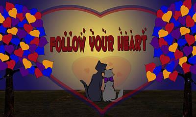 Follow Your Heart Art Print by Jennifer Schwab