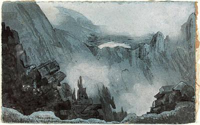 Follower Of John Sell Cotman, Mountain Scene With Rocks Art Print