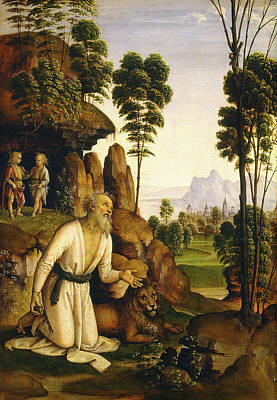 Follower Of Pietro Perugino, Saint Jerome In The Wilderness Art Print by Litz Collection