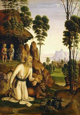Follower Of Pietro Perugino, Saint Jerome In The Wilderness Art Print