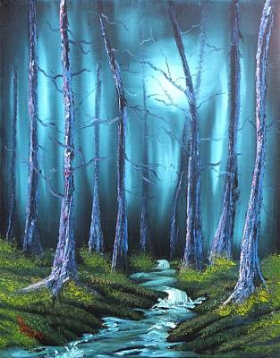 Eerie Painting - Following The Midnight Stream by Alfred Stringer