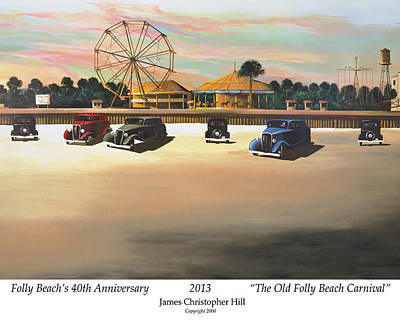 Morris Island Lighthouse Painting - Folly Beach Carnival by James Christopher Hill