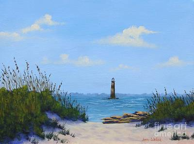 Painting - Folly Beach Lighthouse by Jerry Walker