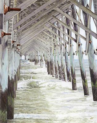 Giclee Drawing - Folly Beach Pier by Stephen Paul Herchak