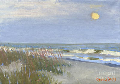 Folly Beach Painting - Folly Field Moonrise by Candace Lovely
