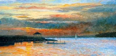 Folly Beach Painting - Folly Sunset by Keith Wilkie