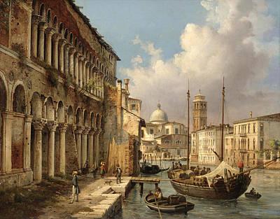 Luigi Querena Painting - Fondaco Dei Turchi by Luigi Querena