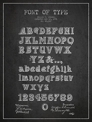 Alphabet Digital Art - Font Of  Type Patent Drawing From 1896 - Dark by Aged Pixel