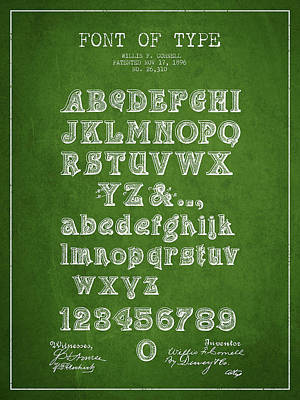 Alphabet Digital Art - Font Of  Type Patent Drawing From 1896 - Green by Aged Pixel