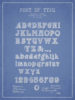 Alphabet Digital Art - Font Of  Type Patent Drawing From 1896 - Light Blue by Aged Pixel