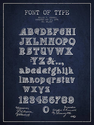 Alphabet Digital Art - Font Of  Type Patent Drawing From 1896 - Navy Blue by Aged Pixel