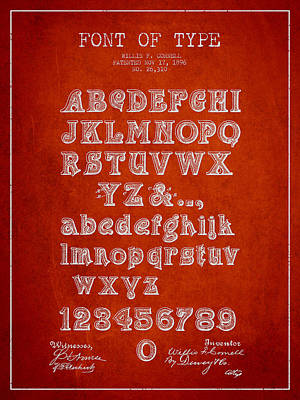 Alphabet Digital Art - Font Of  Type Patent Drawing From 1896 - Red by Aged Pixel
