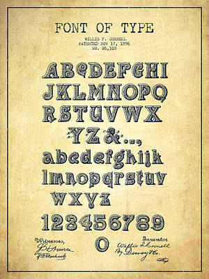 Alphabet Digital Art - Font Of  Type Patent Drawing From 1896 - Vintage by Aged Pixel
