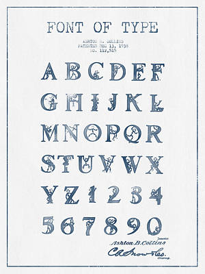 Alphabet Digital Art - Font Patent Drawing From 1938 -  Blue Ink by Aged Pixel