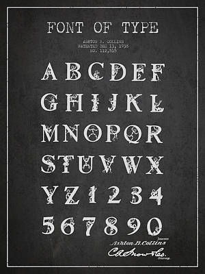 Alphabet Digital Art - Font Patent Drawing From 1938 - Dark by Aged Pixel