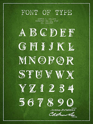 Alphabet Digital Art - Font Patent Drawing From 1938 - Green by Aged Pixel