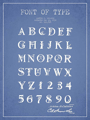 Font Patent Drawing From 1938 - Light Blue Art Print