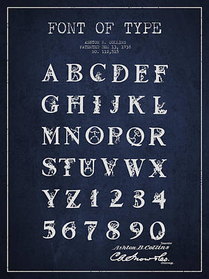 Font Patent Drawing From 1938 - Navy Blue Art Print