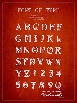 Font Patent Drawing From 1938 - Red Art Print