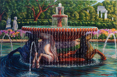 Fontana Cavalli Marini Art Print by Artur Guzina