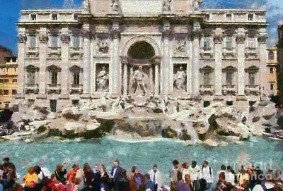 Painting - Fontana Di Trevi In Rome by George Atsametakis