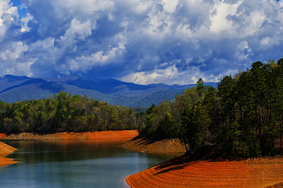 Landscape Poster Digital Art - Fontana Lake Storm by Chris Flees
