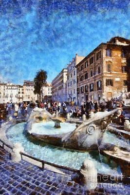 Painting - Fontanna Della Barcaccia At Piazza Di Spagna by George Atsametakis