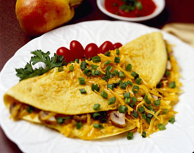 Cheese Green Pears Photograph - Food - Cheese And Mushroom Omelette by Ed Young