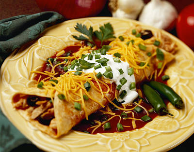 Scallion Photograph - Food - Chicken And Cheese Enchilada by Ed Young
