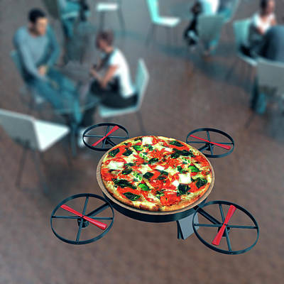 Delivering Photograph - Food Delivery Drone by Christian Darkin