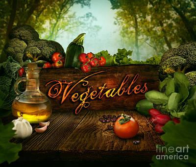 Broccoli Digital Art - Food Design - Fresh Vegetables In Celery Forest by Mythja  Photography