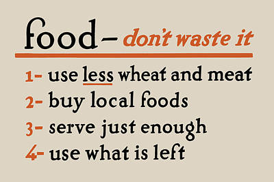 Local Food Digital Art - Food - Don't Waste It - No.2 by God and Country Prints