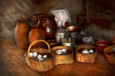 Earthenware Urn Photograph - Food - Eggs - Country Breakfast  by Mike Savad