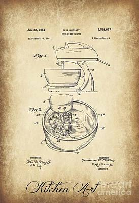 Food Mixer Patent Kitchen Art Art Print