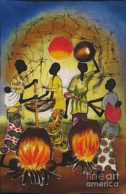 African Village Scene Painting - Food Prep -cropped by Ted Samuel Mkoweka