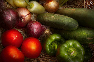 Food - Vegetables - Onions Tomatoes Peppers And Cucumbers Art Print by Mike Savad