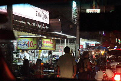 Nightime Photograph - Food Vendors - Night Street Market - Chiang Mai Thailand - 01131 by DC Photographer