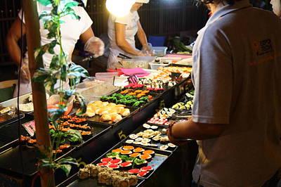 Shops Photograph - Food Vendors - Night Street Market - Chiang Mai Thailand - 011314 by DC Photographer