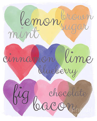 Heart Wall Art - Painting - Foodie Love by Linda Woods
