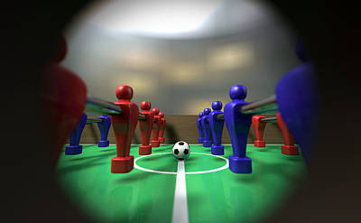 Macro Digital Art - Foosball Table Through A Peephole by Allan Swart