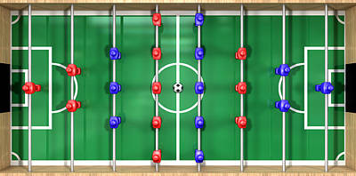 Football Royalty-Free and Rights-Managed Images - Foosball Table Top View by Allan Swart