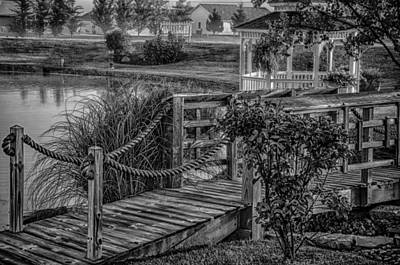 Photograph - Foot Bridge And Gazebo Bw by Gene Sherrill