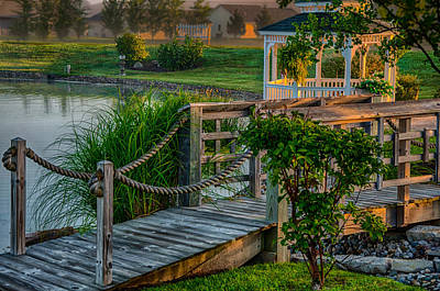 Photograph - Foot Bridge And Gazebo by Gene Sherrill