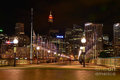 Sydney Skyline Photograph - Foot Bridge By Night by Kaye Menner