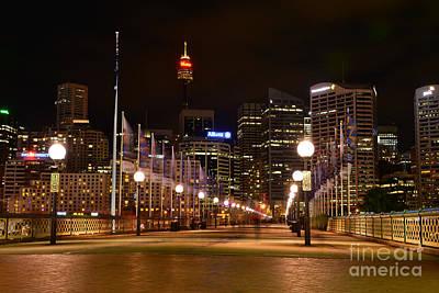 Photograph - Foot Bridge By Night by Kaye Menner