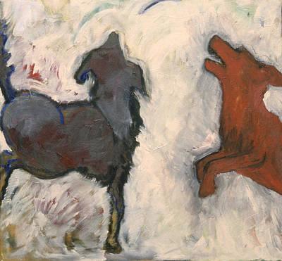 Dog At Play Painting - Foot Loose  by Barbara J Hart