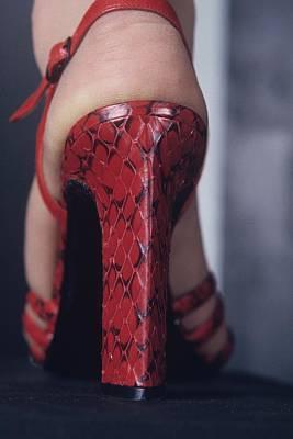 Foot Of A Model Wearing A Red High Heel Shoe Art Print