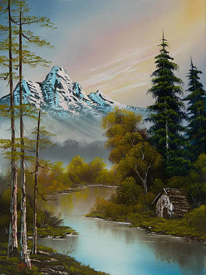 Bob Ross Painting - Mountain Sanctuary by C Steele