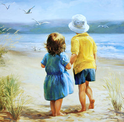 Children On Beach Painting - Foot Prints by Laurie Hein
