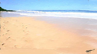 Wave Digital Art - Foot Prints On The Beach by Anthony Fishburne